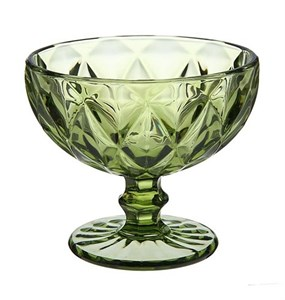 """Креманка """"Клетка"""" зеленая 300 мл из цветного стекла"""