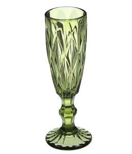 """Бокал для шампанского """"Клетка"""" 150 мл зеленый из цветного стекла"""
