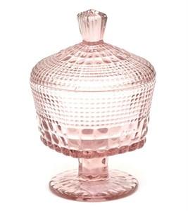 Конфетница стеклянная с крышкой 220 мл розовая