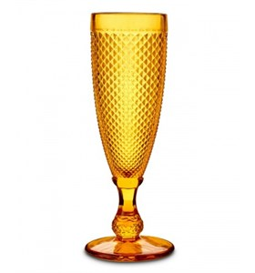 """Бокал """"Винтаж"""" для шампанского желтый из цветного стекла"""
