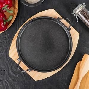 Блюдо металлическое для подачи на деревянной подставке
