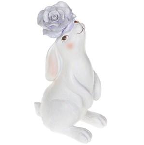 """Статуэтка """"Заяц с фиолетовым цветком"""" большой"""