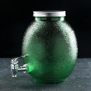 Лимонадник стеклянный на 4 литра зеленый