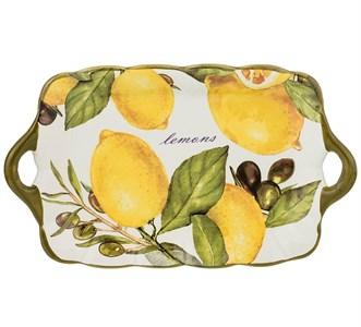 """Блюдо с ручками """"Лимоны 23х14 см"""