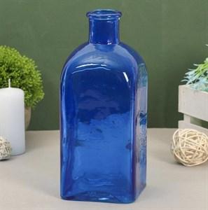 Ваза-бутылка стеклянная синяя