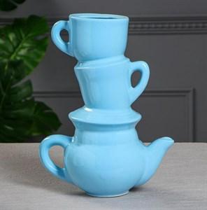 """Ваза """"Чайный сервиз"""" синяя"""