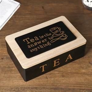 Шкатулка для чайных пакетиков на шесть отделений черная