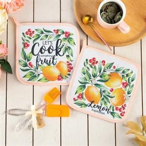 """Набор подарочный """"Лимоны"""" из двух прихваток, лопатки, кисти"""