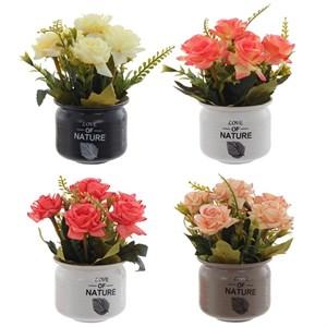 Розы искусственные в кашпо, цена за штуку