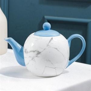 """Чайник заварочный """"Мрамор"""" синий 800 мл"""