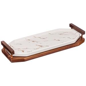 Блюдо фарфоровое на деревянной подставке 32х12 см