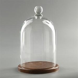 Стеклянный клош на подставке 24х15 см