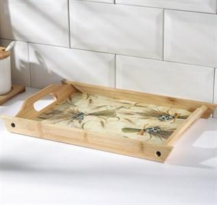 Поднос  деревянный с рисунком 33х22 см