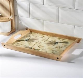 Поднос  деревянный с рисунком 39х27 см